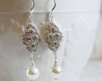 Bridal Earring Wedding Earring Rhinestone Earring Crystal Dangling Earring Pearl Earring Wedding Jewelry Bridal Jewelry ER003LX