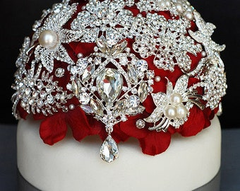 Luxury Vintage Bridal Brooch Bouquet Wedding Cake Topper - Pearl Rhinestone Crystal - Silver Ruby Red CT003LX