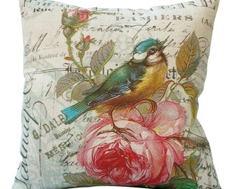 Bird on Pink Rose Square in Choice of 14x14 16x16 18x18 20x20 22x22 24x24 26x26 18x12 20x13 24x16 Inch Pillow Cover