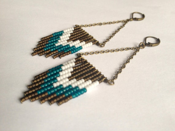 Bronze Teal and White Beaded Earrings