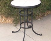 "Hand Made Round Bistro Table Ready to Tile, 30"" tall"
