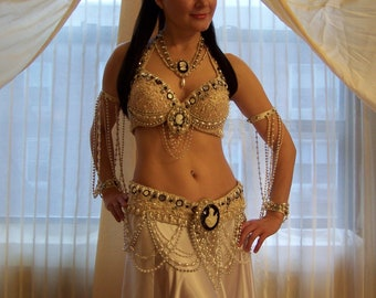 Antique lace, cameos and pearls belly dance costume