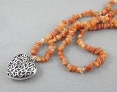 Aventurine Mala Beads Necklace Boho Chic Chakra Jewelry Heart Pendant Valentines Day Gifts for Her Aries Prosperity Balance Healing Stones
