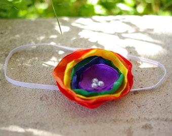 CHOOSE YOUR SIZE, Headband or Clip, Rainbow Satin Singed Flower Headband, Photography Prop