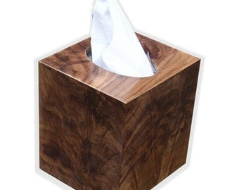 Tissue box cover ,cube square size, botique fits kleenex and puffs brand in American Walnut crotch wood veneer