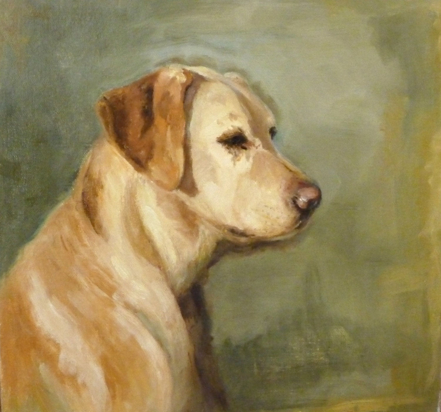 Original oil painting yellow lab dog painting one of a kind for Painting of your dog