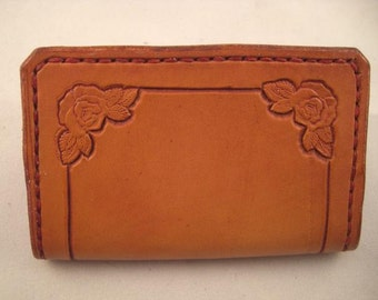 Leather Wallet or Business Card Holder, Handstamped Roses with border