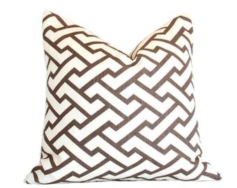 Aga Brown - Quadrille - Designer Pillow Cover (Single-sided) 16x16