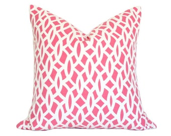 Chain Link Cerise - Designer Pillow Cover (Single-Sided) 11x23