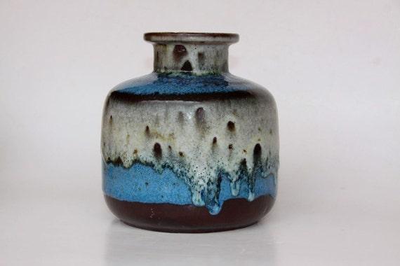 Vintage Blue Lava Vase - West Germany  60s