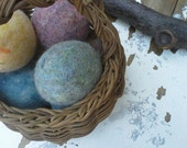 Set of 10 Felted Wool Dryer Balls, Rustic Heathers, Free Shipping to USA
