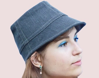 Rain or Shine Cotton Cloche, Bucket Shaped Hat with Fitted Brim in Washed Grey Stretch Denim, Soft and Stretchy