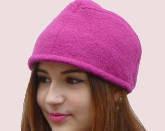 Preppy Beanie Cap In Magenta Pink, Extra Warm Winter Hat in Fuchsia Textured Alpaca and Wool Knit, Elegant and Sporty