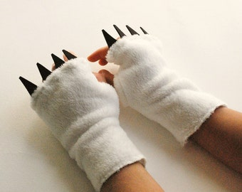 Texting Gloves - Women's - White with Claws - show your claws while staying warm