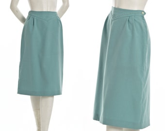Vintage teal blue cowgirl pencil skirt with embroidered detail -- 1960s 70s knee length skirt-- size large