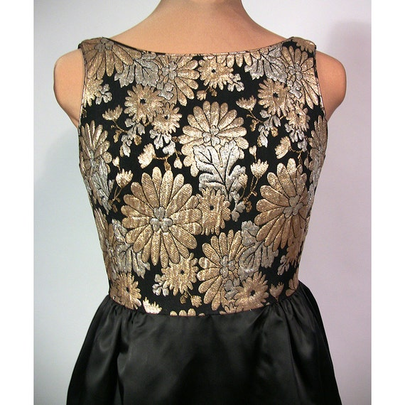 Gold and black brocade cocktail dress. 1960's mad men era. Holiday Floral.