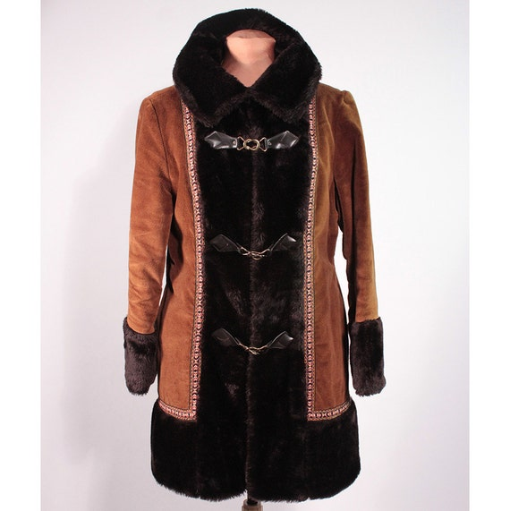 Reserved for G. Corduroy and faux fur coat. Bohemian Winter 1970's.