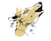Shadow Puppet Series - Wolf - 12.5x12.5 Two Color Screenprint