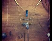 CUSTOM for Chandra crystal, labradorite and druzy spike necklace