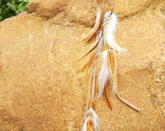 Citrine Crystal & Rooster Feather on Buckskin : Long Roach Clip / Hair / Multi Use Clip