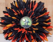 Orange and Black Halloweenn Flower Clip