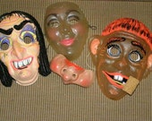 Lot of 4 VINTAGE HALLOWEEN MASK 1940-60s Flock Hair Witch Hobo Bum See Thru & 1/2 Mask France