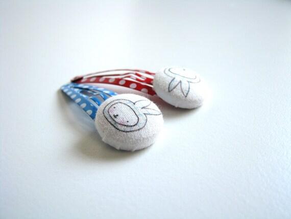 Fabric button girl  hair clips, bunny