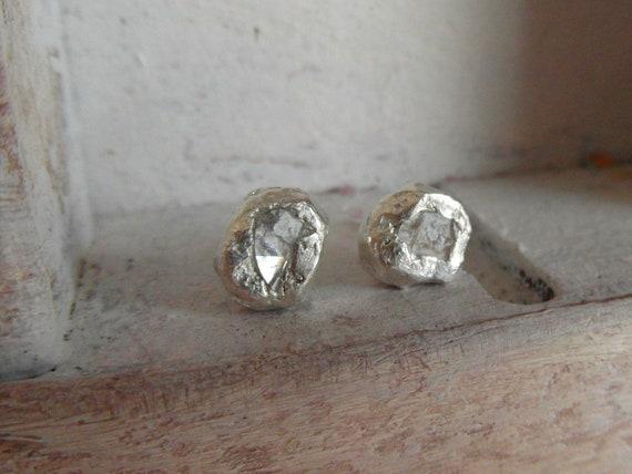 Free Form Raw Rough Diamond Stud Post Back Diamond