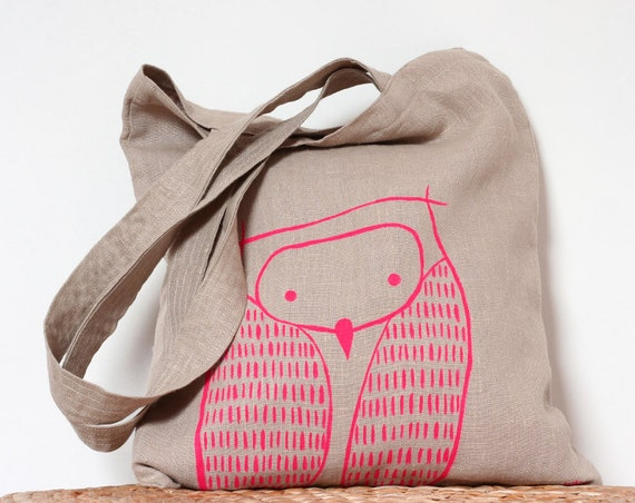 Neon Pink Owl Tote Bag - Natural Linen Woodland Owl Tote Bag