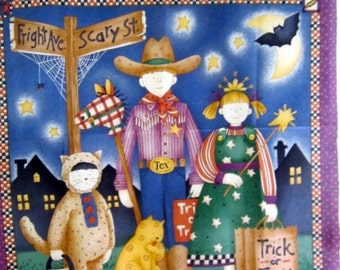 Happy Halloween Trick or Treaters 29x44 cotton fabric panel from South Seas Imports retired OOP