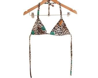 80s Leopard Sphere satin jacquard Bikini Top size S