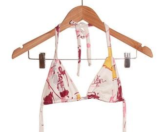 Radiant Orchid Splatter Print 70s Fabric Handmade Bikini Bra Top size M