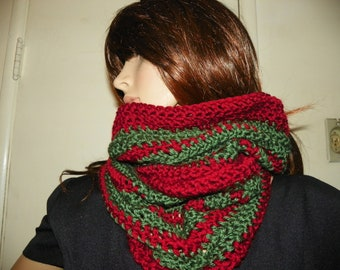 Christmas Cowl Neck Warmer Dark Red and Olive Green Stripes  Hand Crochet