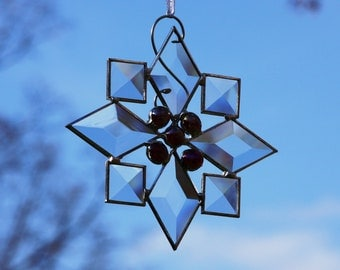 Beveled Stained Glass Snowflake with Deep Red Jewels Suncatcher Ornament