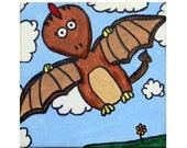 "Original Pterodactyl Dinosaur Painting: Acrylic on 6""x6"" mounted canvas."