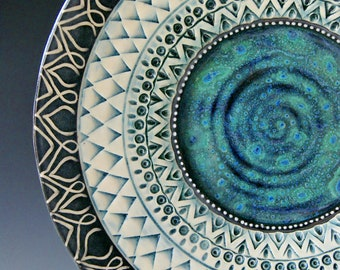 Platter / Made to Order / Large  Platter / Handmade Pottery / Blue Pottery / Textured