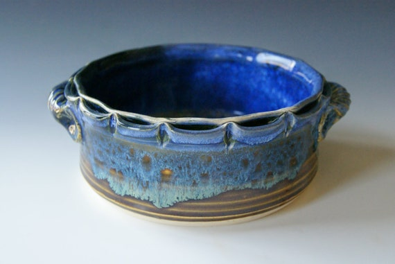 Baker / Brie / Casserole / Blue and Amber / Scalloped rim