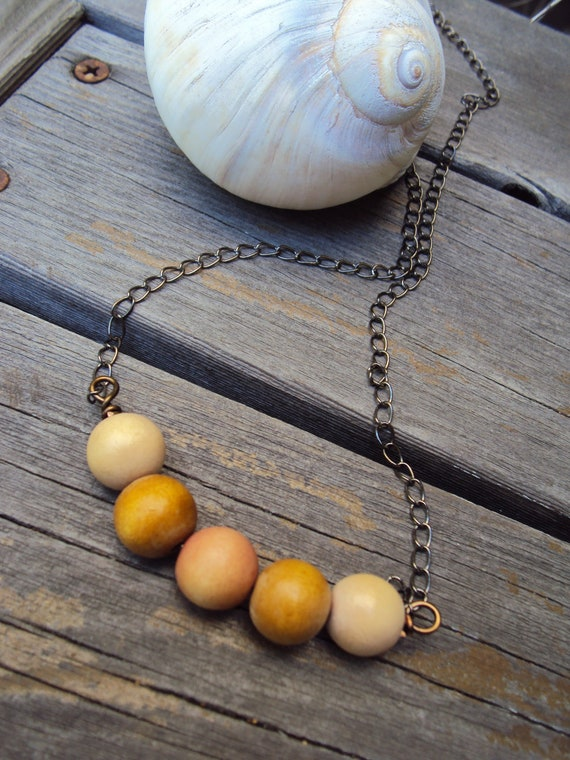Neutral Fall Fashion Necklace Natural Wood Beaded Everyday Simple Modern Jewelry Autumn Accessories