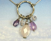 reserved for Tracey Sterling Silver Necklace Gemstone Medley Amethyst Pendant Necklace with Silver Chain D
