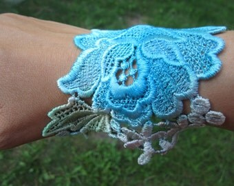 Turquoise Lace Bracelet- Venice Lace Hand Dyed - Lace Bracelet