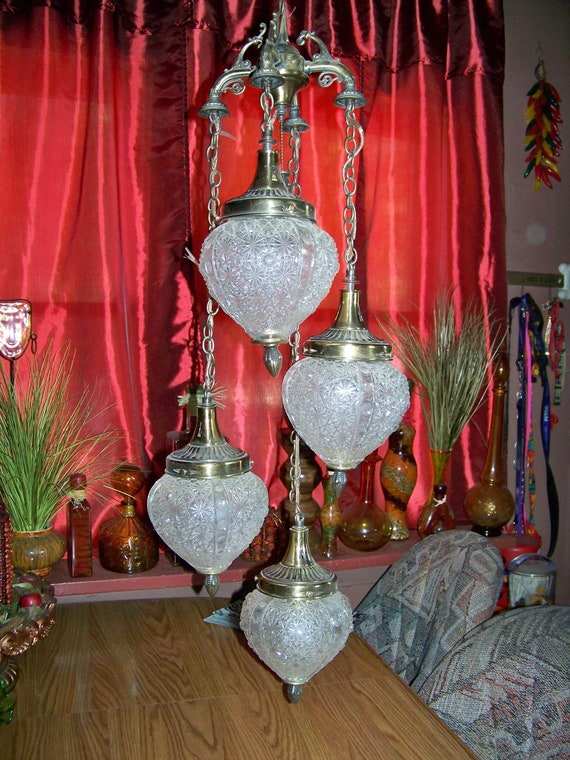 Vintage Glass Hanging Swag Lamp Light With Four Hanging Globes