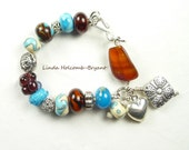 Bracelet of Turquoise Brown & Ivory Lampwork Beads