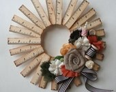 """Fall Vintage 9"""" Wooden Ruler Wreath Kit from Maya Road"""