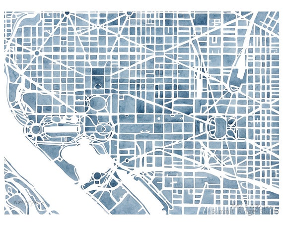 Washington dc 8x10 blueprint city map print decor like this item malvernweather Choice Image