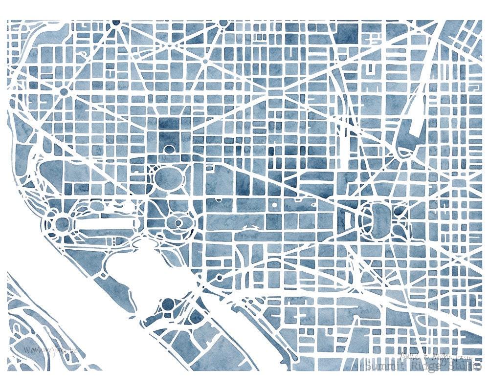 Washington Dc 8x10 Blueprint City Map Print Decor