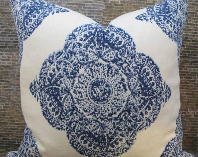 Designer Pillow Cover Lumbar, 16 x 16, 18 x 18, 20 x 20, 22 x 22, Euro  JR Mani Indigo