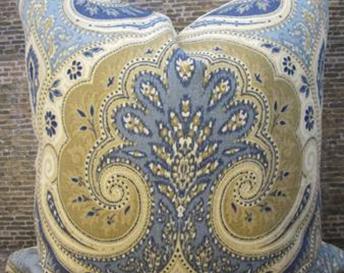 Designer Pillow Cover 12 x 18, 16 x 16, 18 x 18, 20 x 20-  Latika Ikat Delta