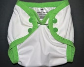 Diaper Cover - Newborn - White withSpring Green SECOND