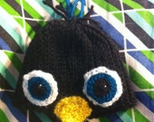 Crocheted Penguin Baby Hat (Made to Order)