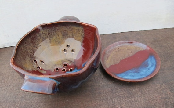 Ceramic Berry Bowl // Handmade Pottery Colander // Trio of Colors - Red, Brown and Blue